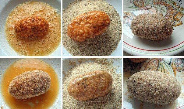 Рецепт Крокеты из риса с говядиной и сыром шаг-5