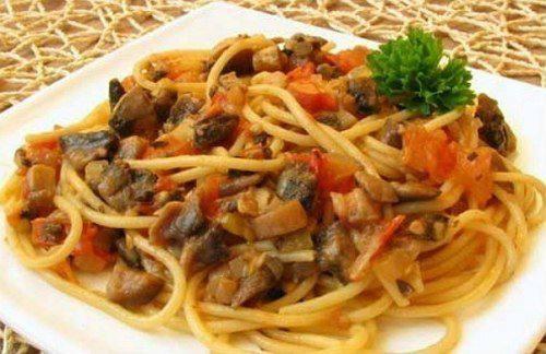 Готовим Закуски Спагетти с овощами и соевым соусом