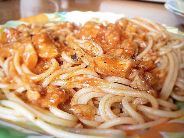 Готовим Закуски Спагетти с рыбой