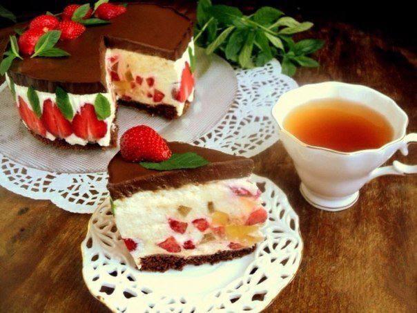 Готовим Десерты Торт «Клубника и шоколад»