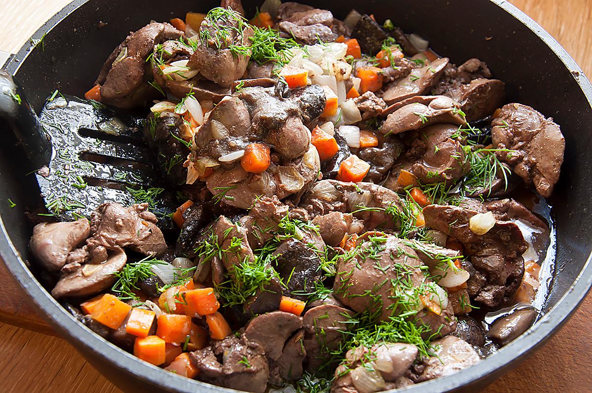 Готовим Мясо Куриная печень с овощами