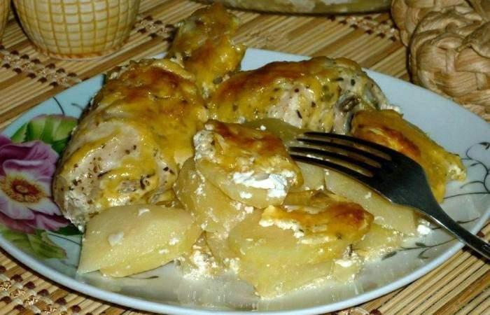Рецепт Картофель с куриными ножками шаг-5