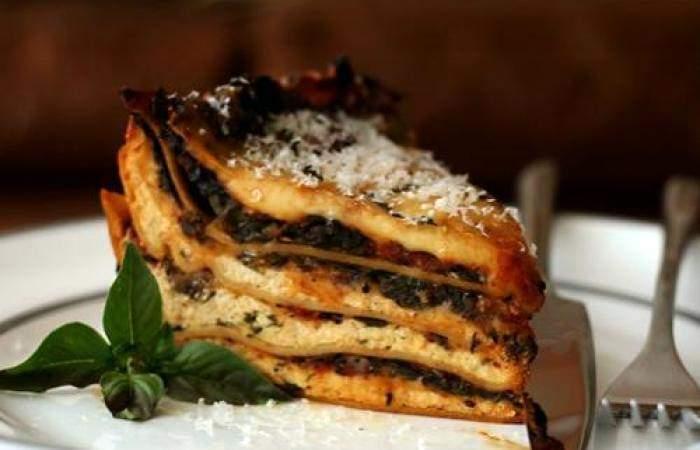 Здоровье Лазанья с грибами и шпинатом