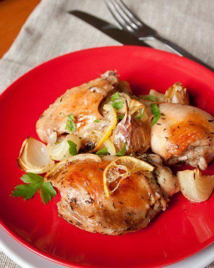 Готовим Мясо Курица, запеченная с лимоном и белым вином