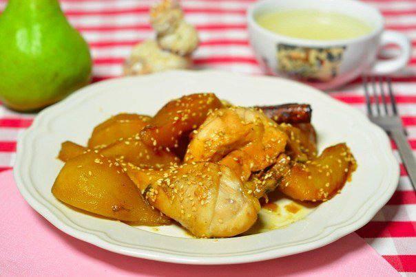Готовим Мясо Курица с карамелизированными грушами
