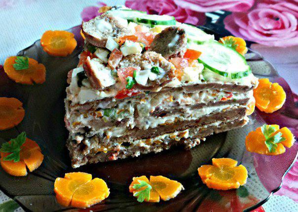 Готовим Мясо Печеночный торт с грибами