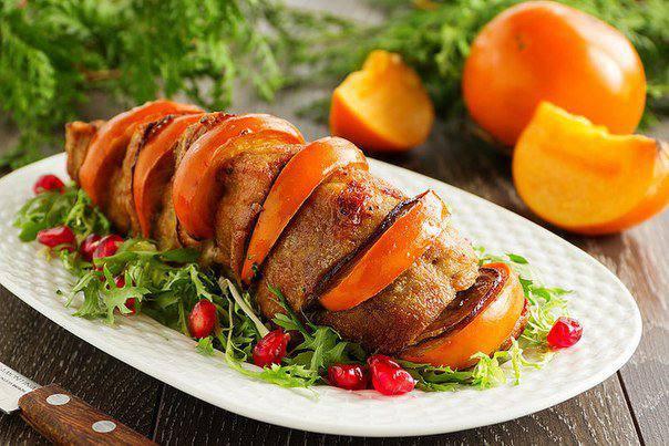Готовим Мясо Запеченная свинина с хурмой