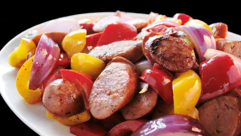 Мясо Говяжьи сардельки с перцами