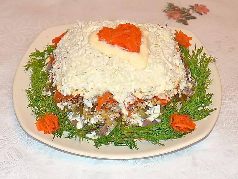 Салат из сердца говяжьего с соленым огурцом
