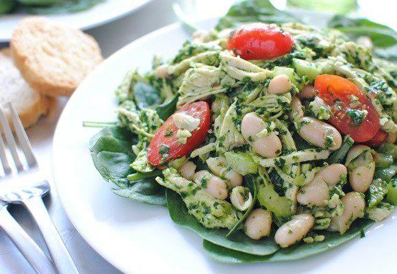 Готовим Салаты Куриный песто салат со шпинатом