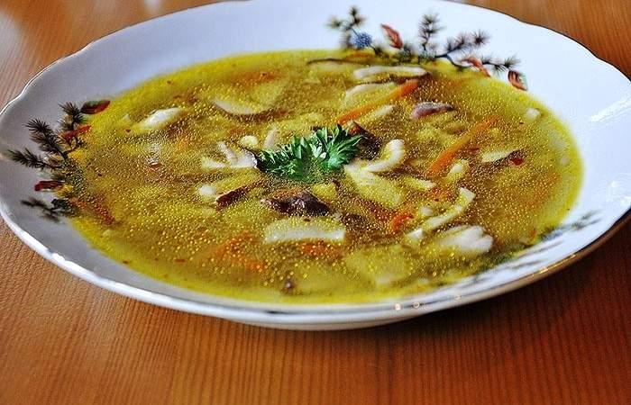 Готовим Супы Грибной суп с яичной лапшой