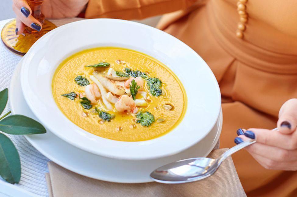 Готовим Супы Тыквенный суп с морепродуктами
