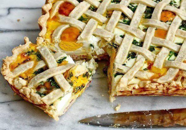 Готовим Выпечка Пирог с картофелем, яйцами и ветчиной