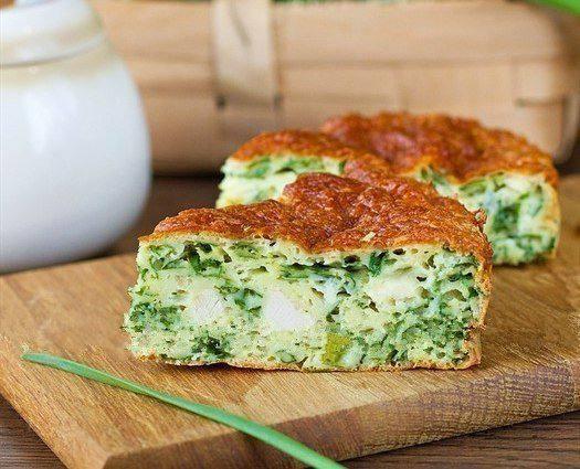 Готовим Выпечка Пирог с зеленым луком и курицей