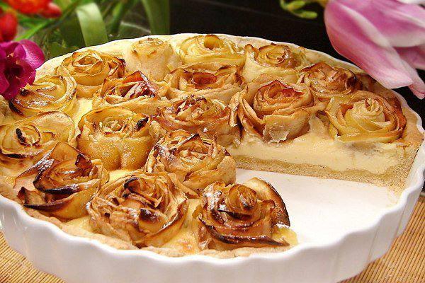 Готовим Выпечка Яблочный пирог с розочками