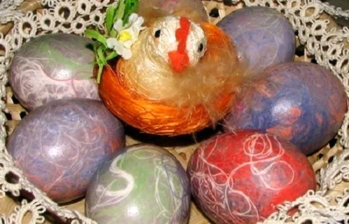 Готовим Закуски Яйца, крашеные нитками
