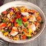 Салат из гречки с сосисками и овощами