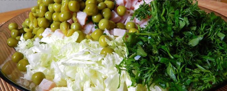 Вкусный салат с зеленым горошком