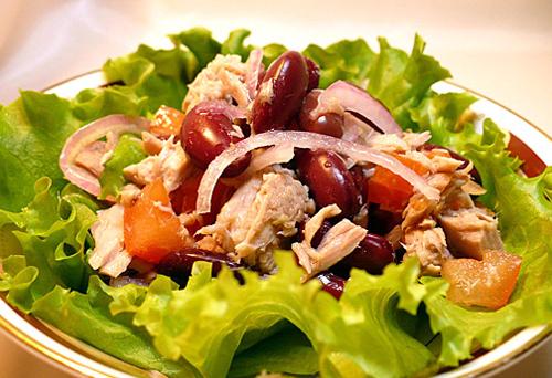 рецепты салатов из фасоли и кур